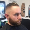 After an awesome week vacation back at what I love to do.  Mid skin on my boy Mike.  Congrats on the new job buddy.  #blkhrtbarbershop ️