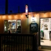 I always love the way the shop looks at night!  #blkhrtbarbershop #pacificbeach