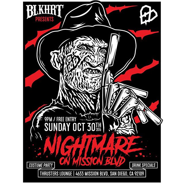 Get your costumes ready for The Nightmare on Mission Blvd.  BLKHRT BARBERSHOP HALLOWEEN PARTY Sunday October 30th at Thrusters in PB.  #blkhrt @thrusterslounge