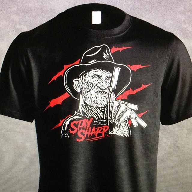 FREDDY WANTS TO SHAVE YOUR FACE OFF!!! Shirts are in for the BLKHRT Halloween party this Sunday. $15 first come first serve.  #blkhrt #staysharp #freddykrueger #straightrazor