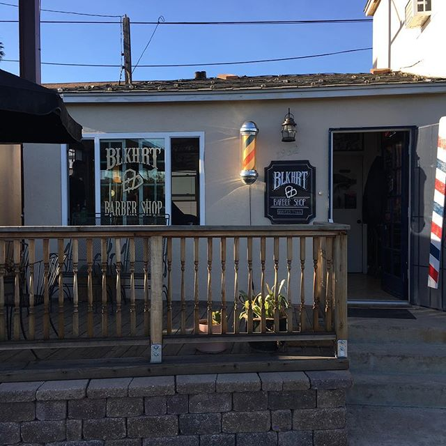 Shop got a paint job today.  No more blue.  Looks nice and new.  Come thru this week and get looking nice and new with us.  #blkhrtbarbershop #pacificbeach #barberpole